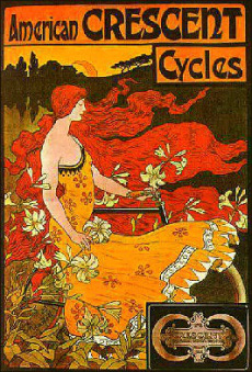 Picture of antique bike ad promoting bicycle touring and commuting