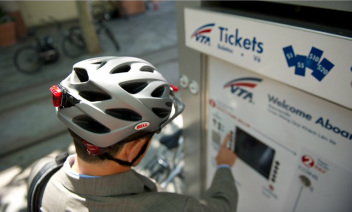 Picture of bike commuter wearing helmet for bicycle commuting