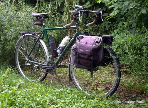 Picture of front bike rack on touring bike for trail riding