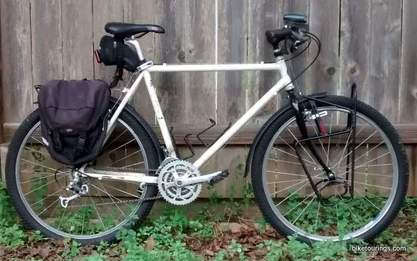 Picture of mountain bike for bicycle touring and commuting with racks and fenders