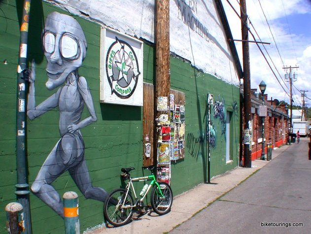 Picture of bicycle touring alleys in Flagstaff, AZ