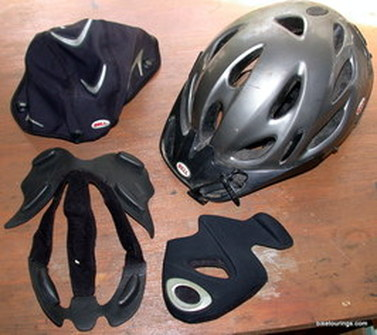 Picture of helmet for bike commuting and touring with accessories