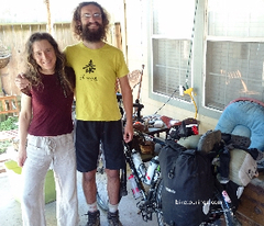 Picture of Natural Living Country Store owner Lisa Piper and warmshowers.org guest Aaron