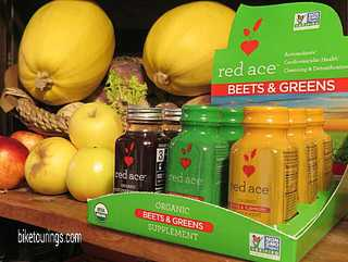 Picture of Red Ace Beets and Greens juice blends for bike touring and commuting