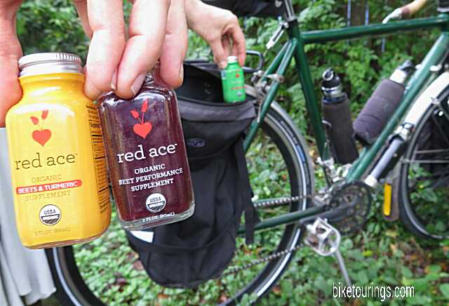 Picture of Red Ace Organic Beet Juice Supplement for bicycle touring and bike commuting