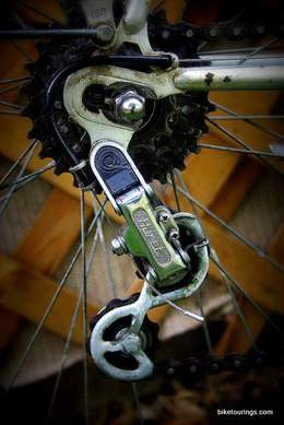 Picture of vintage rear derailleur on touring bike for bike commuter