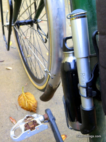 Picture of Road Air Mini Pump and pump bracket on touring bike for bicycle touring