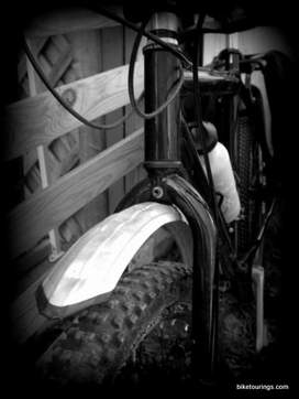 Picture of home made front bicycle fender for mountain biking