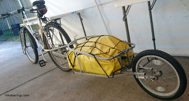 Picture of Aosom Solo Single-Wheel Bicycle Cargo Bike Trailer with dry bag and cargo net