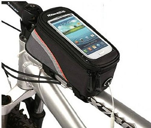 Picture of top tube stem bag for cell phone for bicycle touring and commuting