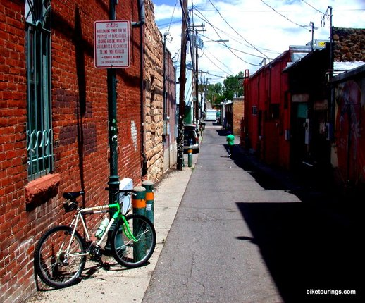 Picture of bicycle touring alley ways Flagstaff Arizona