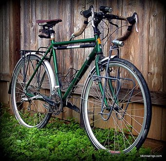 Picture of custom built touring bike for bicycle touring and bike commuting