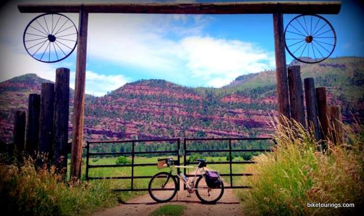 Picture of mountain bike touring with wagon wheels