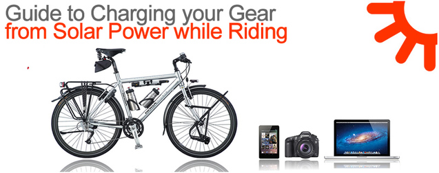 Picture of bike touring solar charging equipment