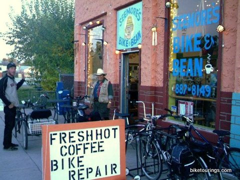 Picture of bike and coffee shop for bike commuting and touring