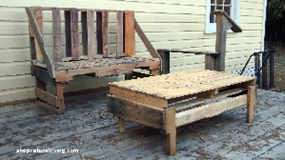 Picture of outdoor pallet bench and table