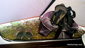 Picture of Alps Mountaineering Lynx 1 person tent vestibule and bike panniers