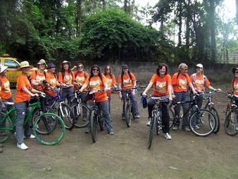 Picture of Eco Africa's women bicycle touring in Africa