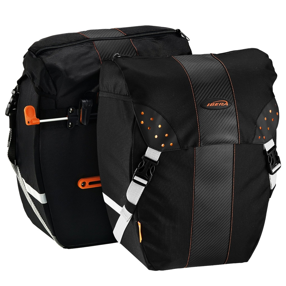 Picture of Ibera Bicycle PakRak Clip-On Quick-Release All Weather Panniers (Pair), Includes Rain Cover for bicycle touring