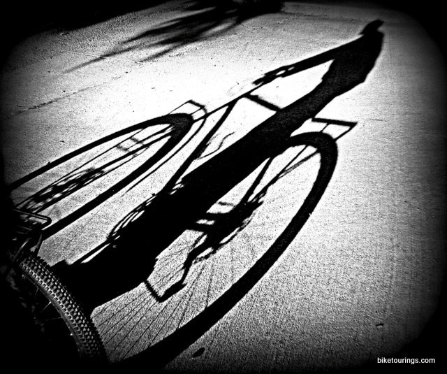 Picture of bike commuter's shadow