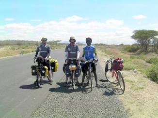 Picture of touring bikes riding in Tanzania, Africa