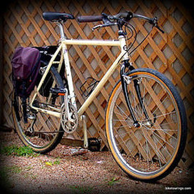 Picture of steel frame mountain bike converted to bike for commuting