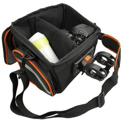 Picture of Ibera Clip-On Quick-Release Bicycle Handlebar DSLR Camera Bag with All Weather Rain Cover for bicycle touring and commuting