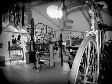 Picture of solar powered bike shop building touring bike for bicycle touring