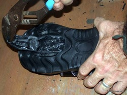 Picture of preparing Nashbar cycling sandals for cleats.