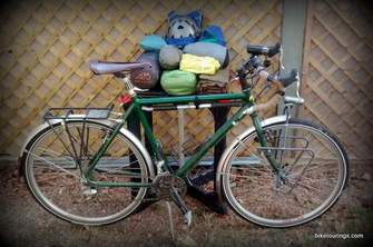 Picture of touring bike with pack gear before loading