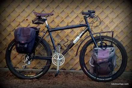 Picture of mountain bike for touring with racks and panniers