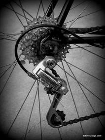 Picture of Shimano friction derailleur and eight speed cassette on six speed conversion