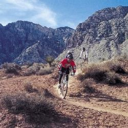 Picture of people riding mountain bikes on trails near Las Vegas