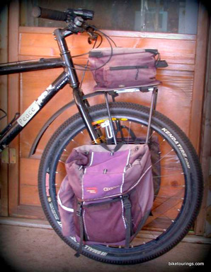 Picture of front rack with panniers for mountain bike touring