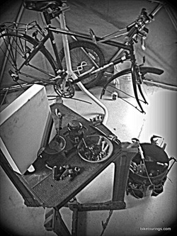 Picture of bike work shop and Park Tools