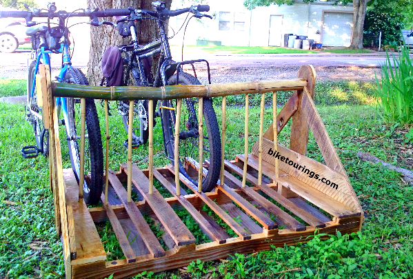 Picture of bike rack for parking bicycles made from wood pallet and bamboo