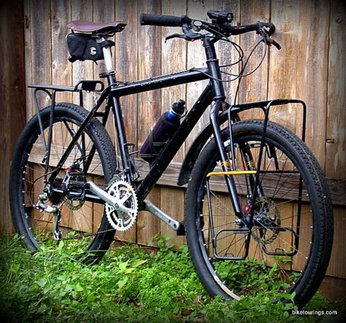 Picture of custom built mountain bike for bike packing, bicycle touring and commuting