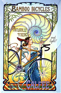Picture of bamboo bike ad for vintage bicycle touring and commuting