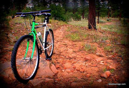 Picture of mountain bike with rain showers