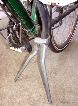 Picture of Pletscher two leg kickstand for bike touring and commuting.