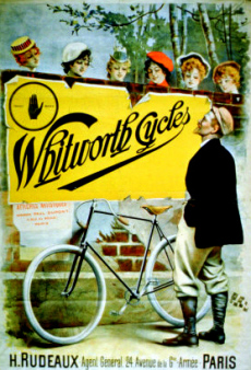 Picture of antique Whtworth Cycles ad of vintage bike touring