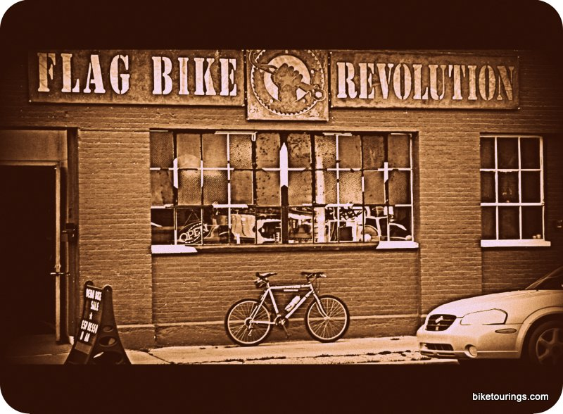 Picture bike shop with bike touring products
