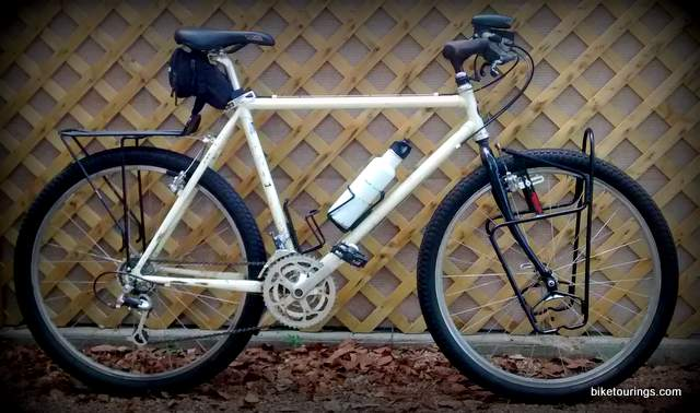 Picture of mountain bike for bike touring with front and rear pannier racks