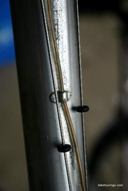 Picture of touring bike frame wiring for generator lights