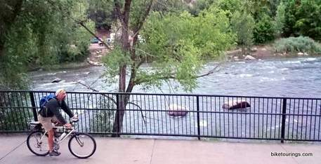 Picture of bike commuter on mountain bike Animas River Trail, Durango, Colorado