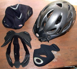 Picture of bike helmet for bike touring and commuting with accessories