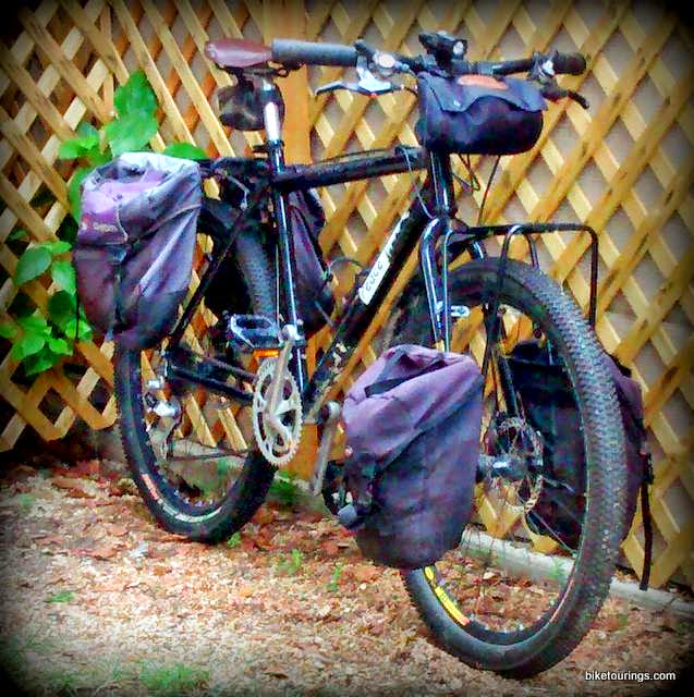 Picture of front rack and panniers on mountain bike for touring