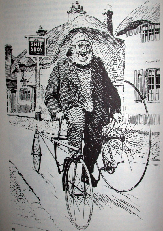 Picture of antique sketch of vintage bike commuter