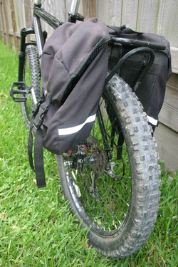 Picture of nashbar mountain bike travel bike and panniers