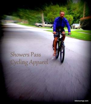 Picture of bicycle commuter with Showers Pass cycling jacket
